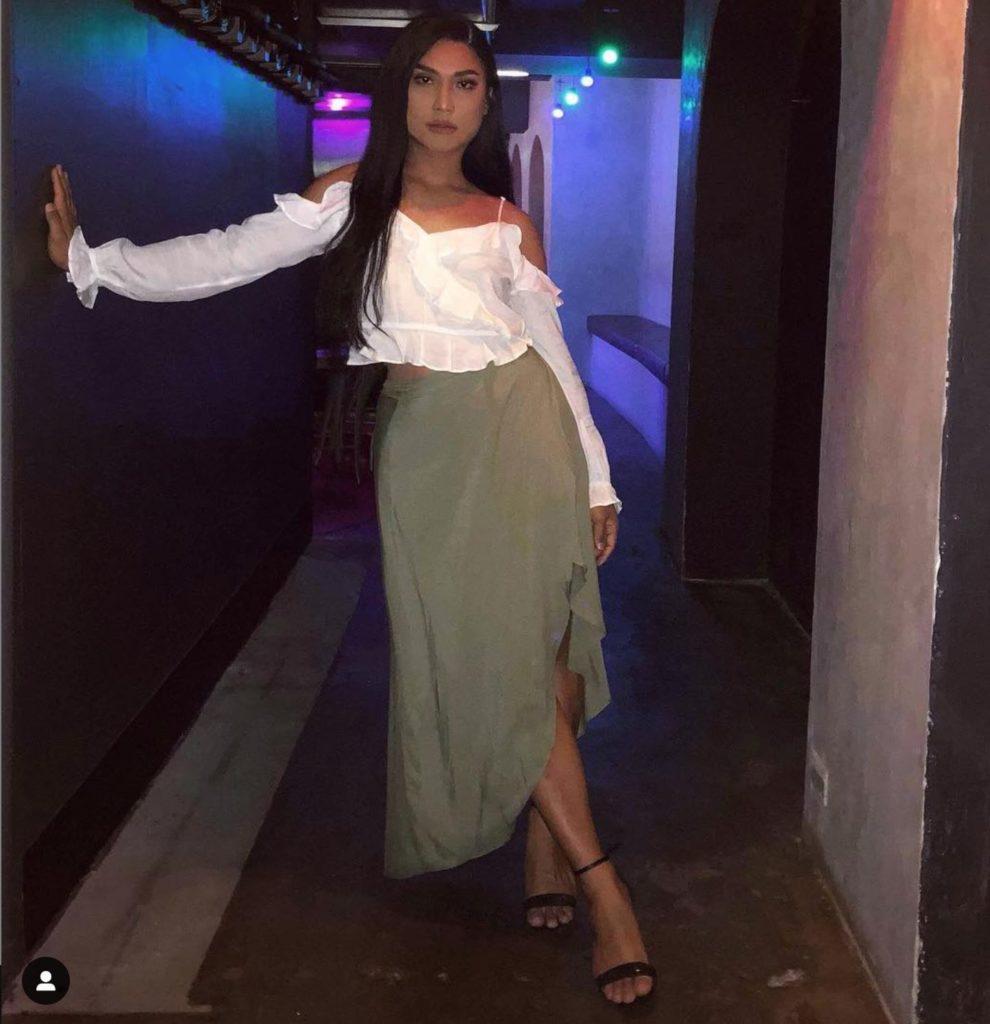 crossdresser Nikki in cute skirt