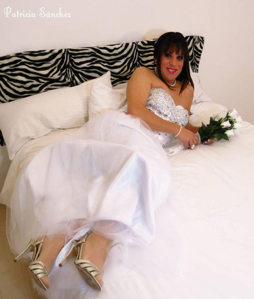 Crossdresser Patricia dressed as bride
