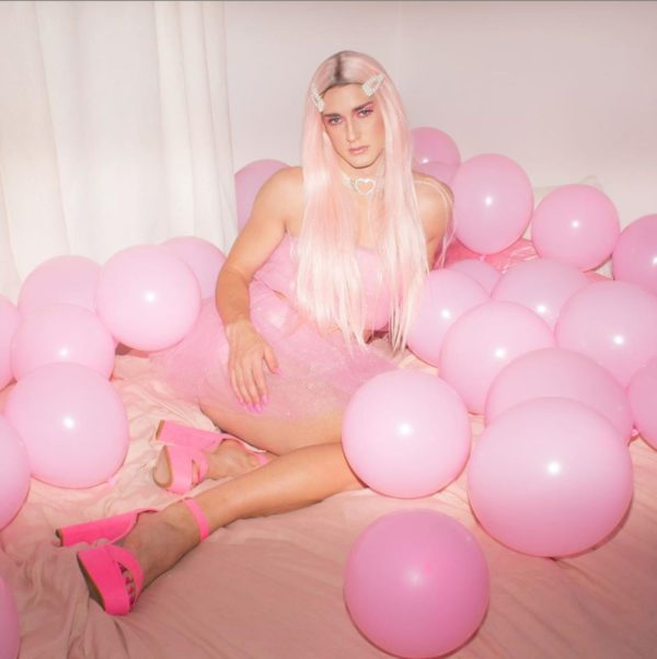 crossdresser Alaska in pink dress