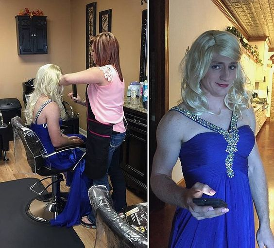 Boy dressed as girl in prom dress