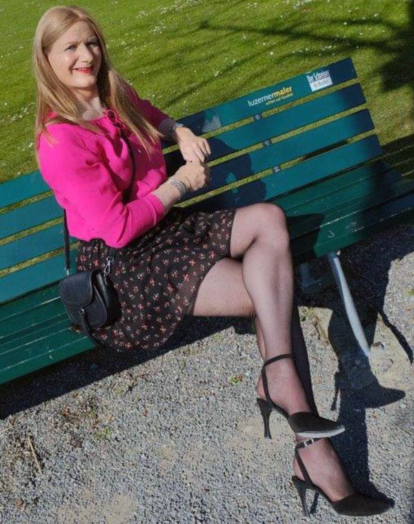 Crossdresser Sandra in beautiful dress and pantyhose
