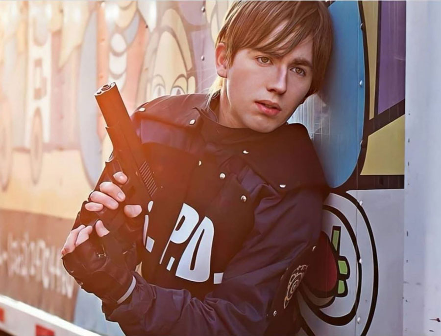 cosplaying as Leon S. Kennedy from Resident Evil