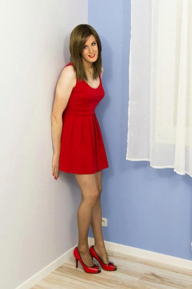 lovely crossdresser in red dress