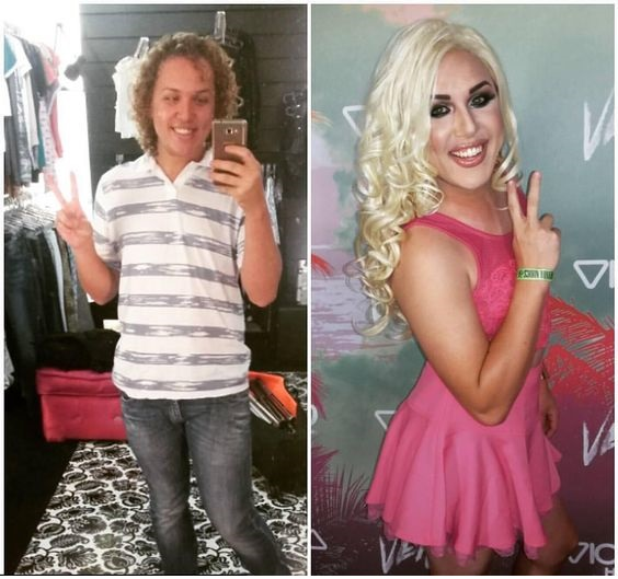 Crossdresser Before and After Transformation