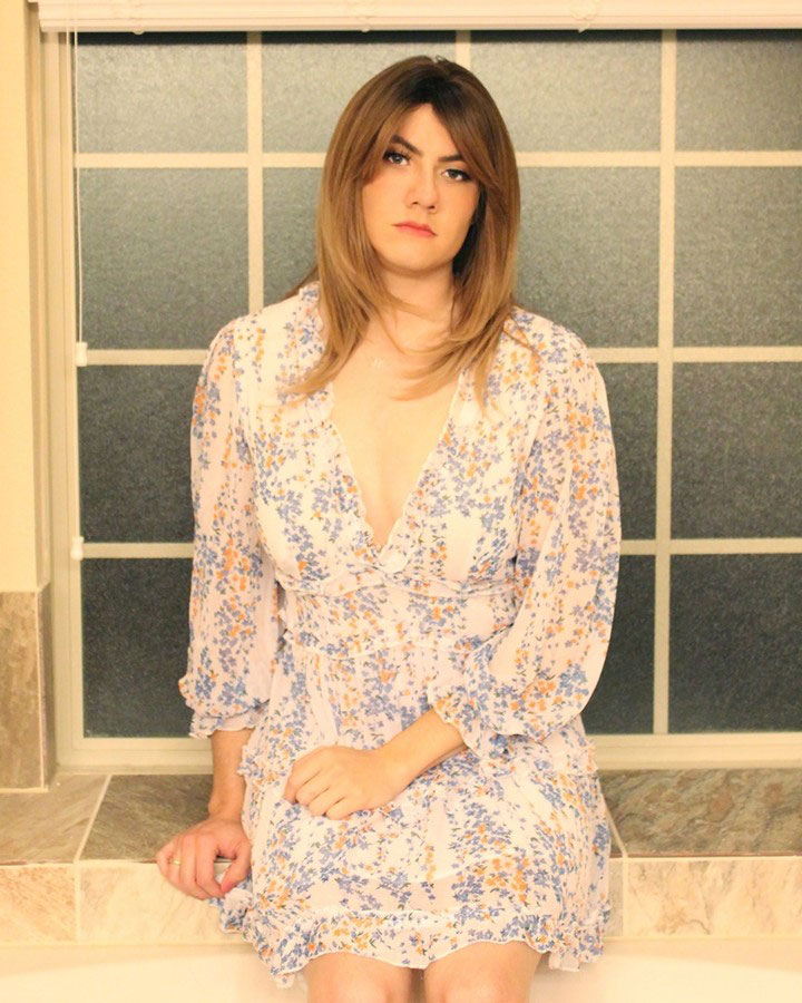 Crossdresser Natalee in floral dress