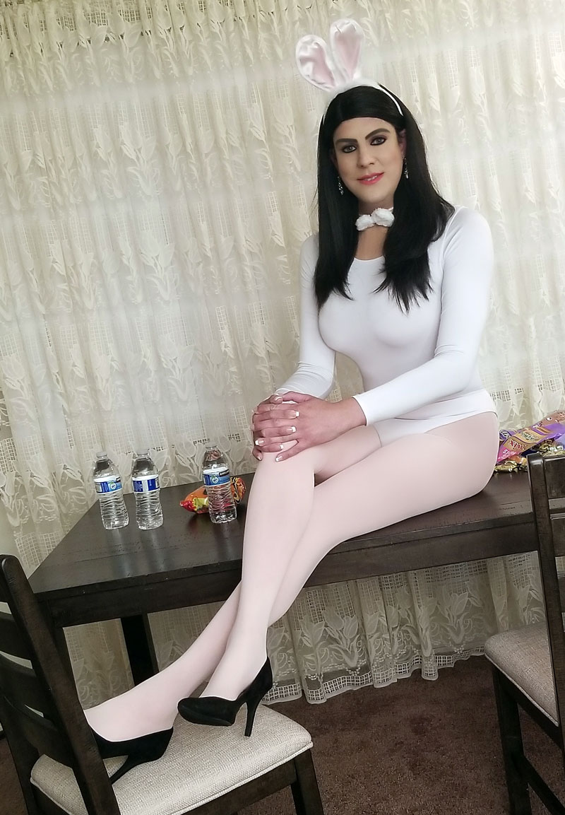 Emily crossdressing in Easter After Party Costume