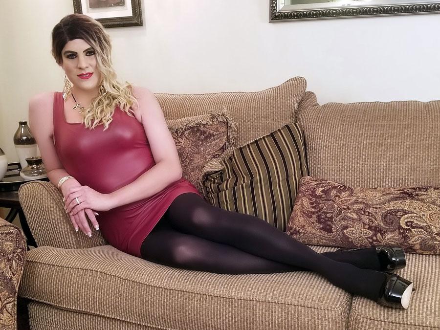 Crossdresser Emily in Forever 21 Burgundy Faux Leather Mini Dress