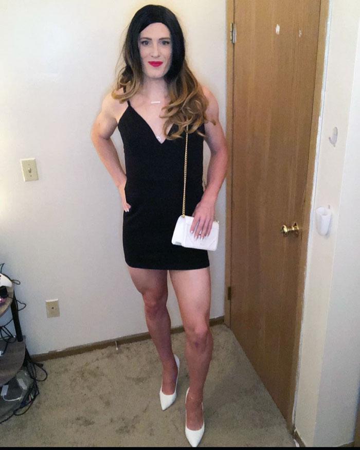 Crossdresser Heather in black dress and heels