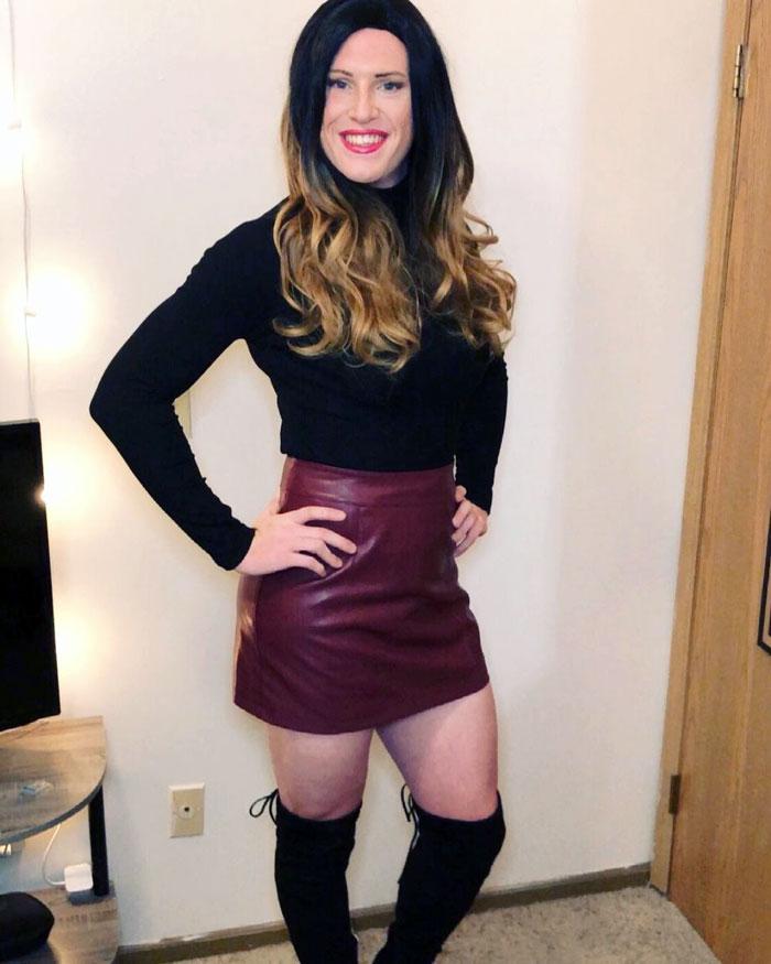 Heather crossdressing in mini skirt an heels