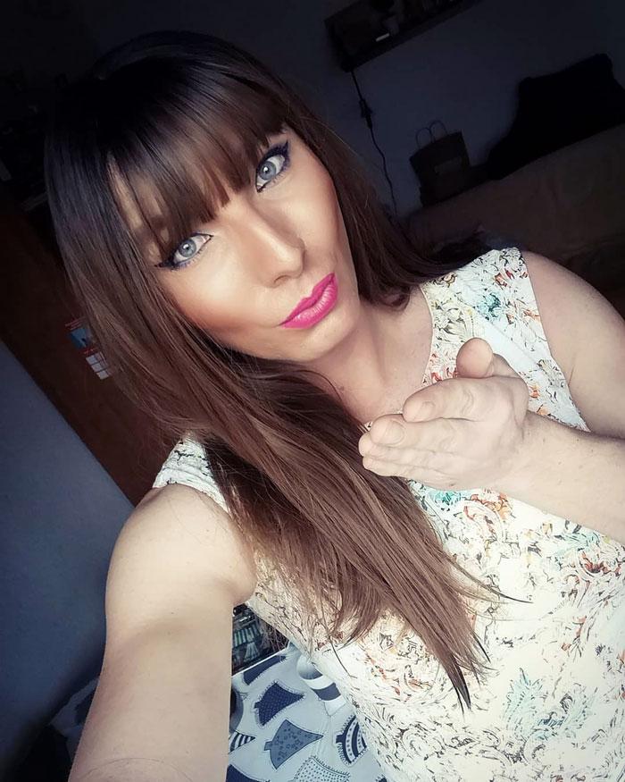 Crossdresser Kasia in white dress