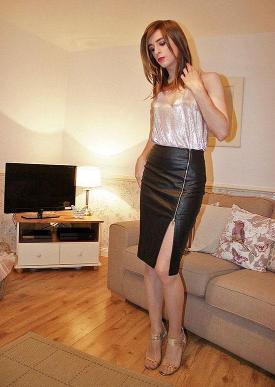 crossdressing in leather skirt