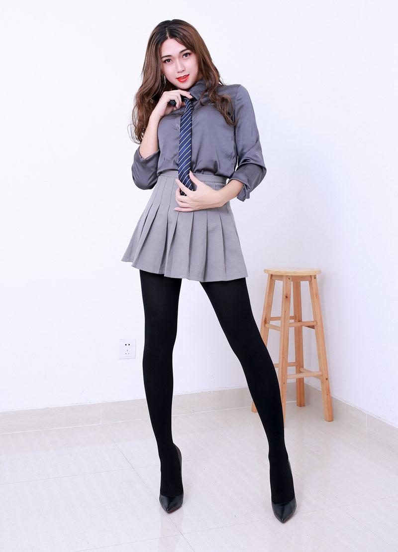 Crossdressing as school girl
