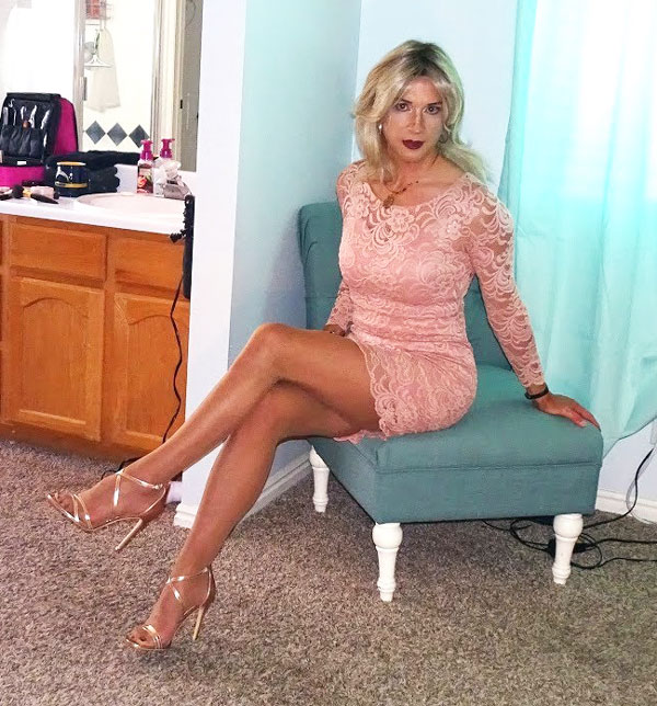 Heidi Phox in mini dress and heels