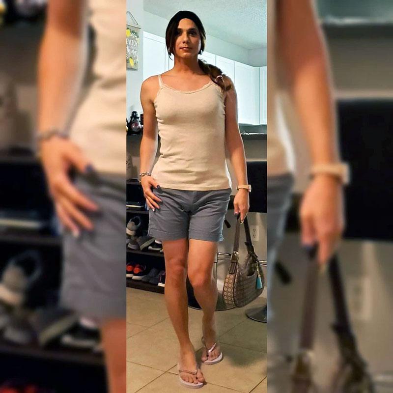 Nataly crossdressing in shorts