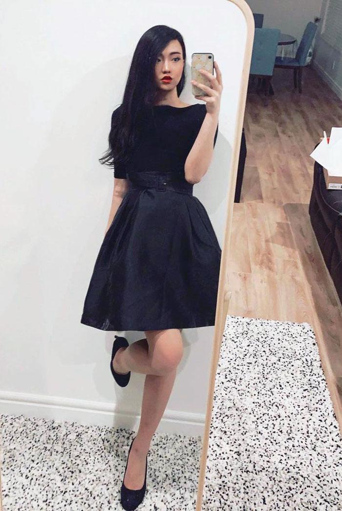Crossdresser Jessica wearing one-piece dress