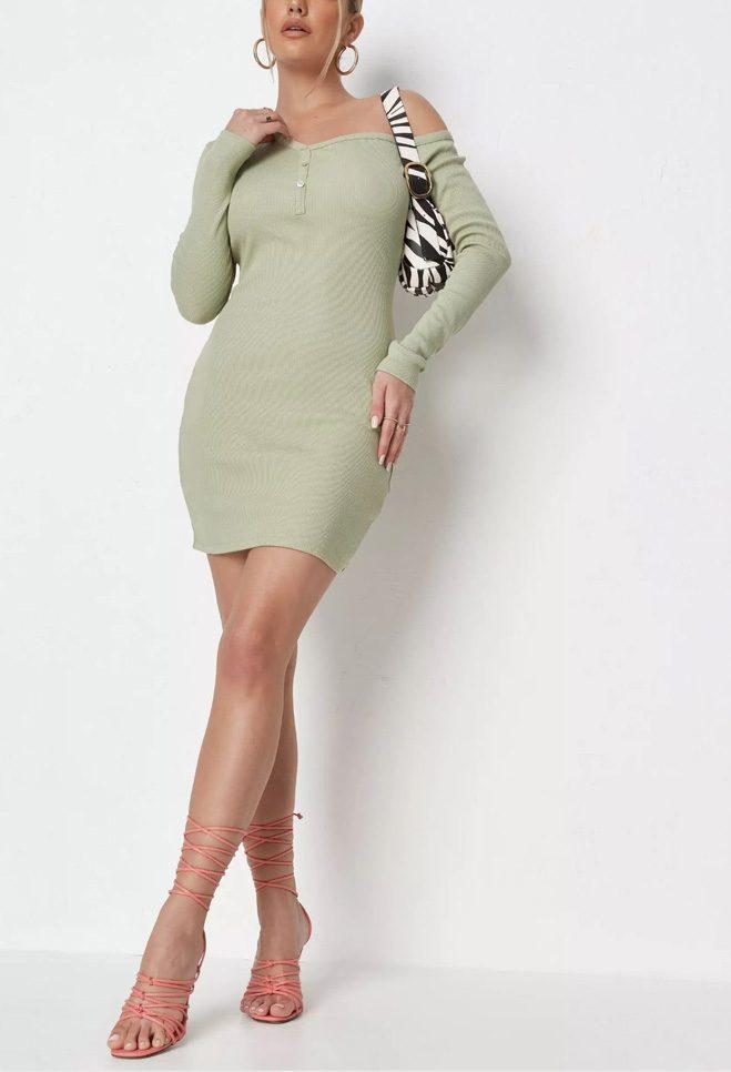 Khaki Rib Asymmetric Button Neck Mini Dress