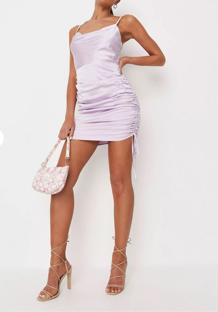 Satin Cowl Neck Ruched Mini Dress