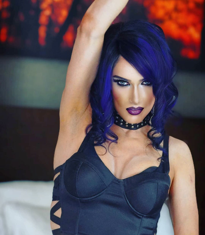 Dawn Vierra in blue wig