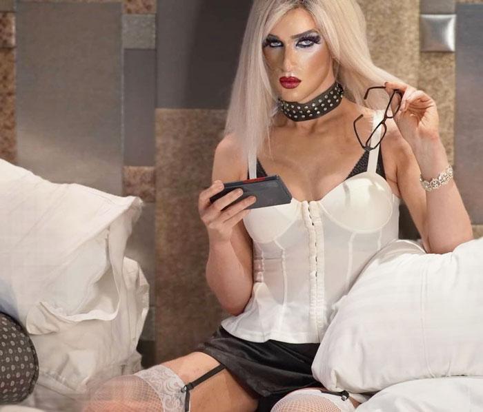 Dawn Vierra crossdressing in white corset top