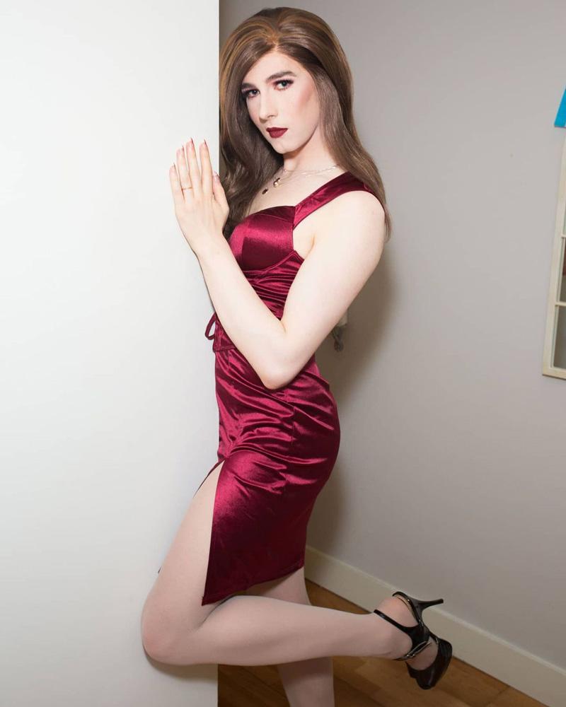 Beautiful Crossdresser Catherine in Red Silk Dress and heels
