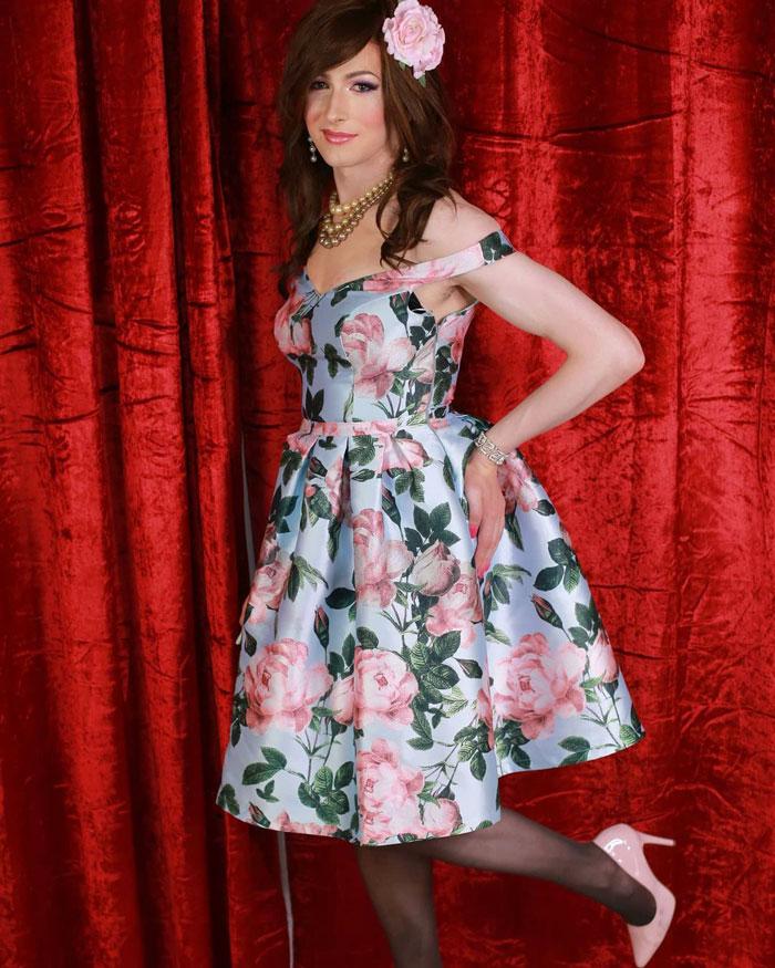 Crossdresser Catherine in Floral dress and heels