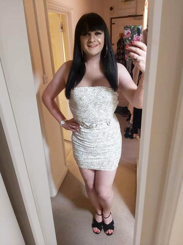 Crossdresser Jessica in White and Gold Minidress