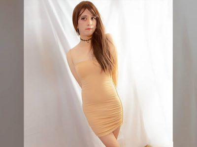 Asian crossdresser in bodycon dress