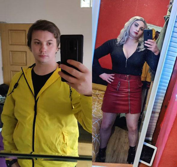 Crossdresser before and after
